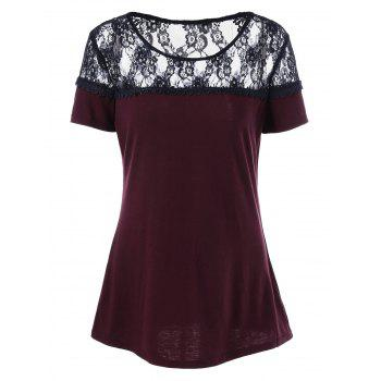 Lace Insert Sheer Laser Cut T-Shirt