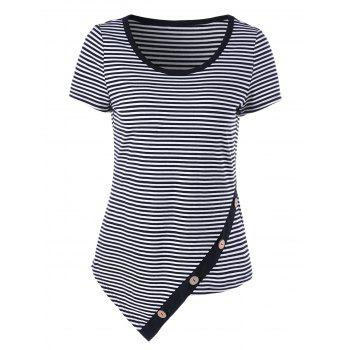 Pinstripe Asymmetrical T-Shirt with Button