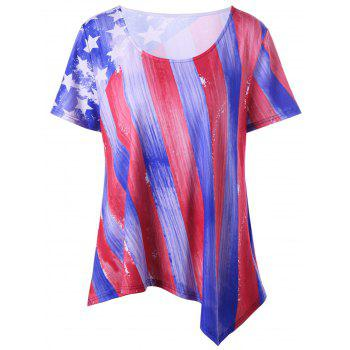 Plus Size American Flag Asymmetrical T-shirt