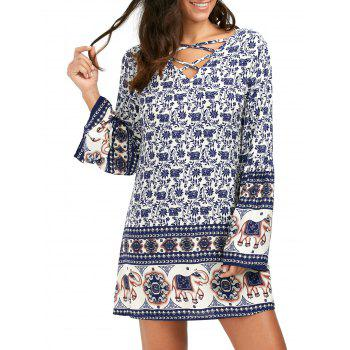 Flare Long Sleeve Lace-Up Indian Print Shift Dress