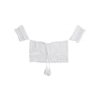 Off The Shoulder Crochet Swim Top