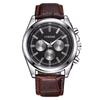 OUKESHI Faux Leather Strap Analog Watch