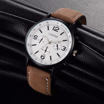 OUKESHI Faux Leather Band Tachymeter Watch - BROWN