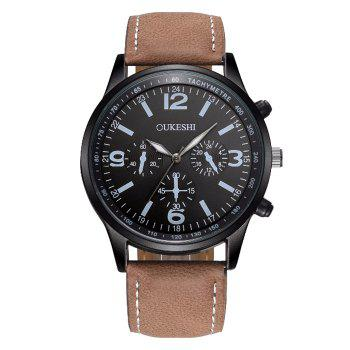 OUKESHI Faux Leather Band Tachymeter Watch