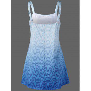 Zigzag Adjustable Strap Tankini Set - BLUE S
