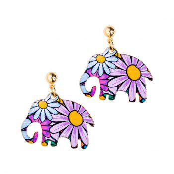 Flowers Elephant Shape Design Drop Earrings