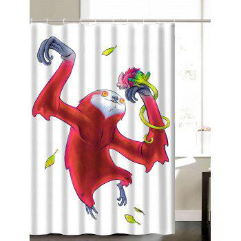 Funny Sloth Play With Chameleon Print Shower Curtain