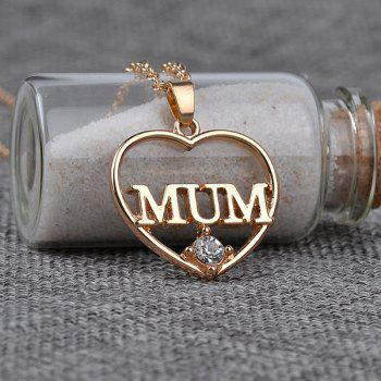 Strass Maman Collier avec pendentif coeur - Or
