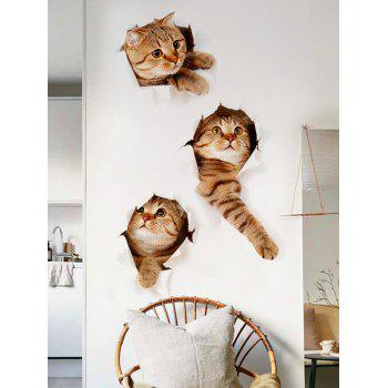 3d Naughty Pussy Cat Home Decor Wall Sticker Animal Brown 40 60cm