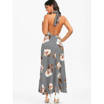 Halter Floral Open Back High Low Dress - SMOKY GRAY XL