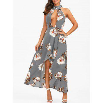 Halter Floral Open Back High Low Dress