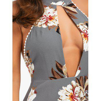Halter Floral Open Back High Low Dress - SMOKY GRAY L