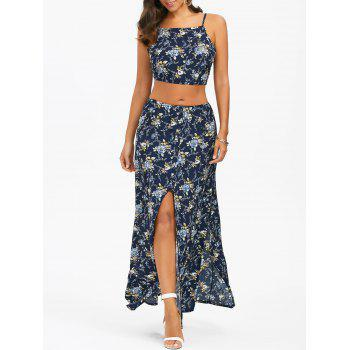 Floral Self-Tie Camis and Slit Maxi Skirt