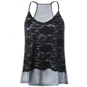 Racerback Lace Panel Tank Top