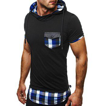 Plaid Insert Side Zip Hooded Tee