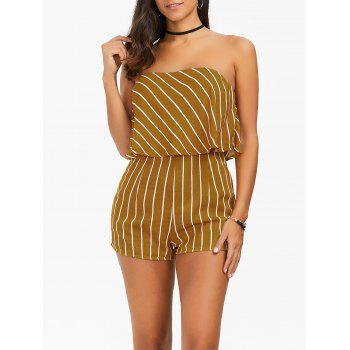 Strapless Overlay Striped Romper