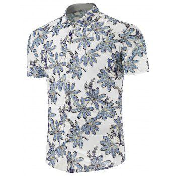 Stretchy Floral Print Short Sleeve Shirt