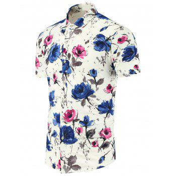 Flower Print Multi Color Short Sleeve Shirt