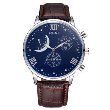 OUKESHI Artificial Leather Roman Numerals Moon Watch