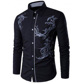 Long Sleeve Totem Print Shirt