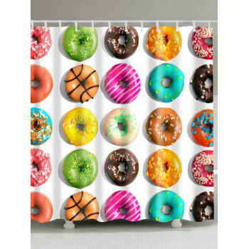 Colorful Tasty Donut Print Waterproof Shower Curtain