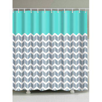 Geometric Zigzag Print Waterproof Shower Curtain