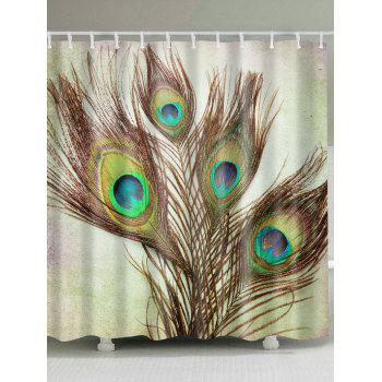 Peacock Feather Fabric Shower Curtain with Hooks