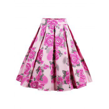 Buy High Waisted Printed Pleated Skirt PINK