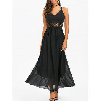 V Neck Lace Panel Chiffon Maxi Dress