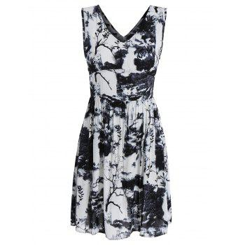 Sleeveless High Waist Dress with Chinese Painting