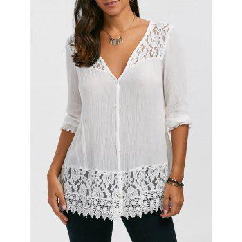 Lace Trim Button Up Tunic Blouse