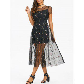Tiny Floral Embroidery Tulle Dress