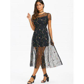 Tiny Floral Embroidery Tulle Dress - BLACK XL