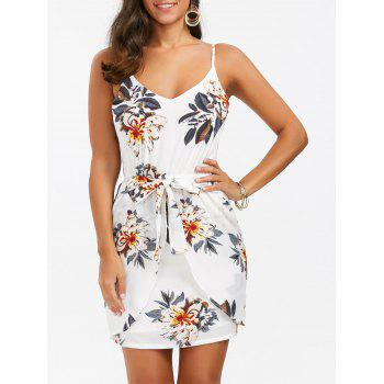 Spaghetti Strap Floral Mini Summer Dress - WHITE L