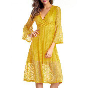 V Neck Midi Lace Dress With Sleeves