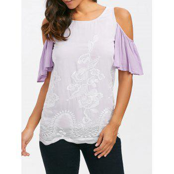 Embroidery Cold Shoulder T-Shirt