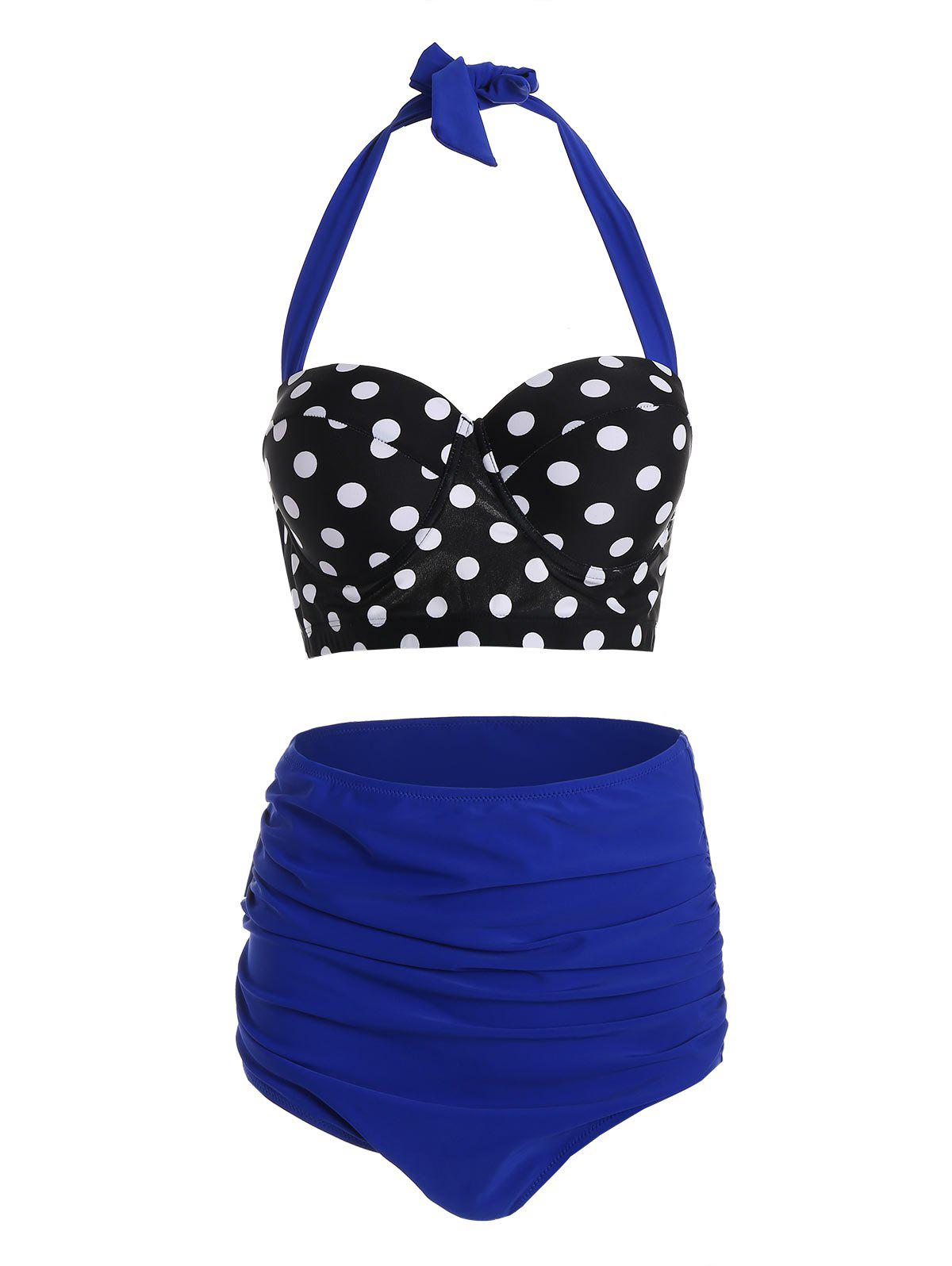 Maillot De Bain Bikini Push Up Licou Pin Up Grande Taille à Pois - Bleu 3XL