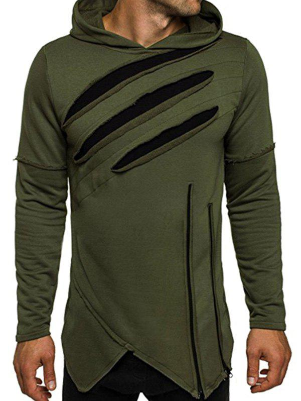 Zip Embellished Asymmetric Distressed Hoodie - ARMY GREEN L
