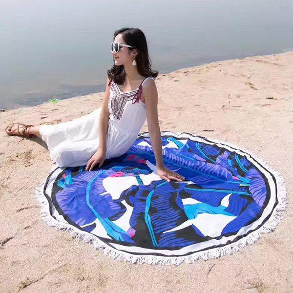 Tassel Banana Leaf Round Shape Beach Throw - BLUE