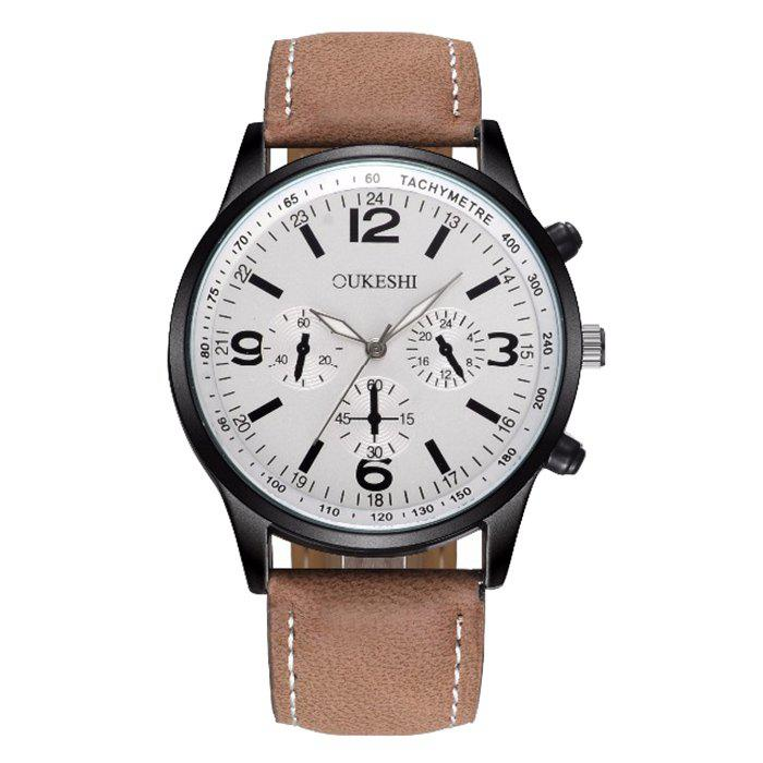 OUKESHI Faux Leather Band Tachymeter Watch oukeshi faux leather tachymeter watch
