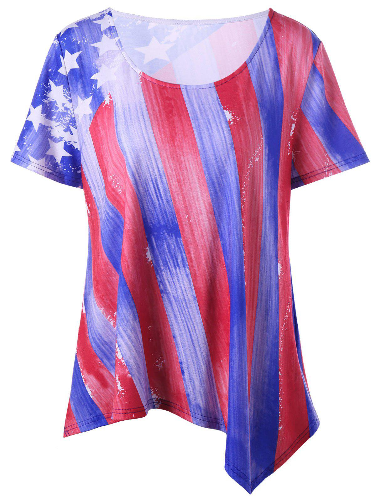 Plus Size American Flag Asymmetrical T-shirt cactus cs pgi9r