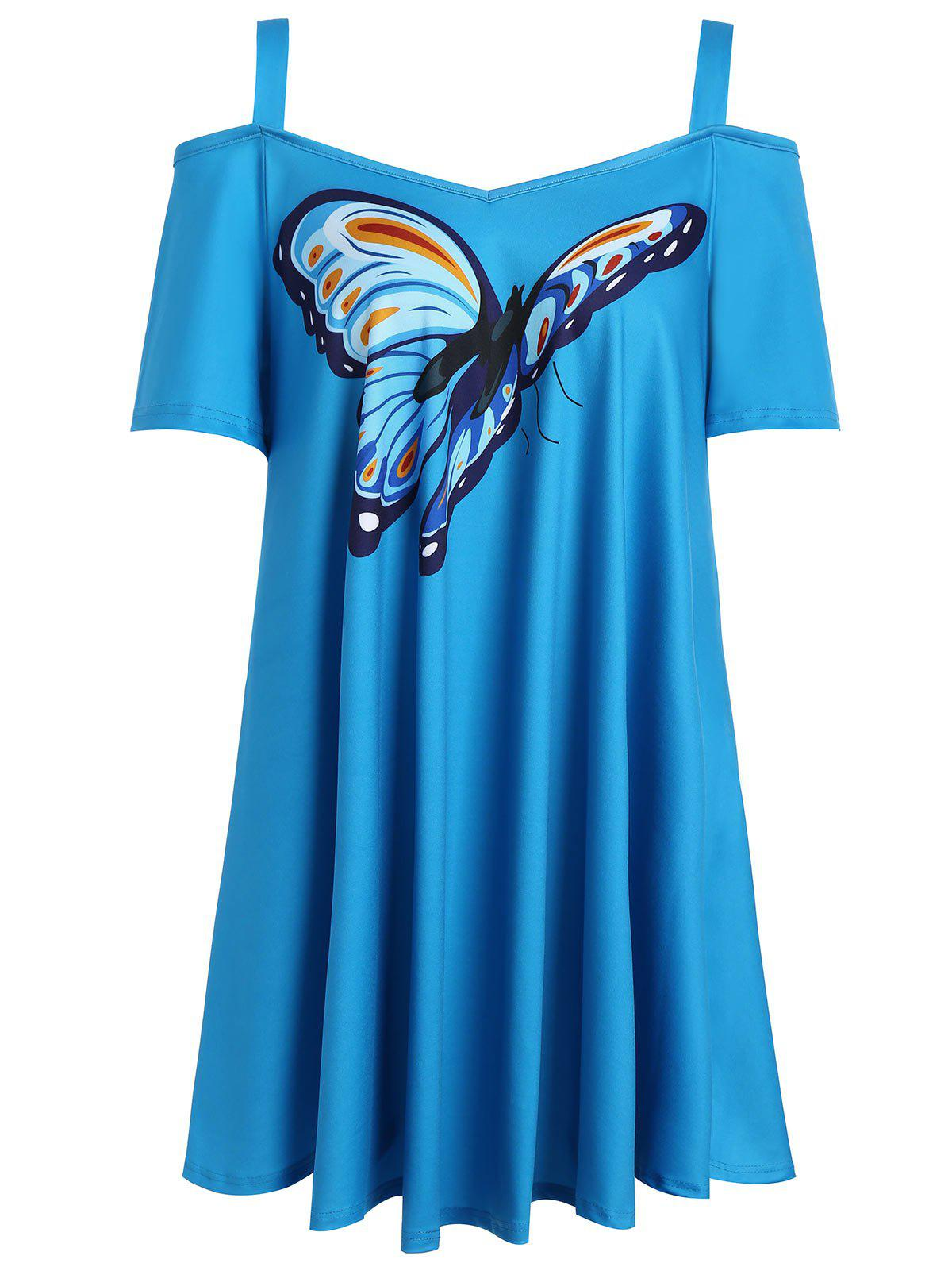 Butterfly Print Cold Shoulder Plus Size Top plus size cold shoulder butterfly print top