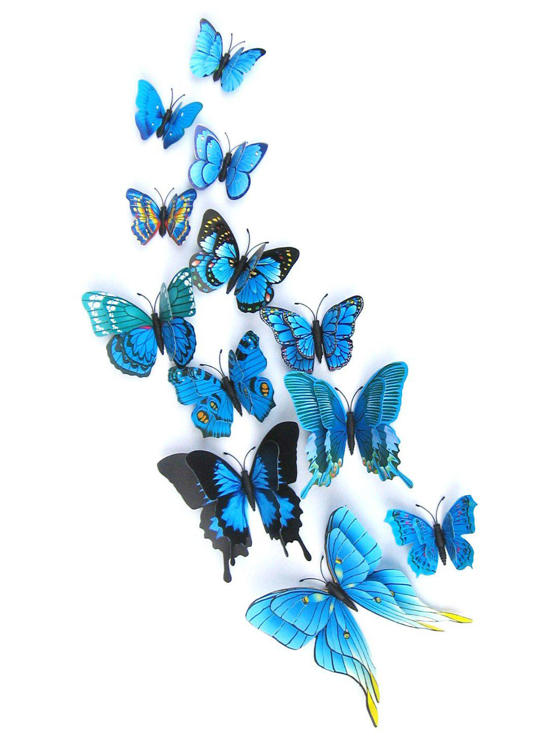 2018 12pcs 3d butterflies magnet diy home decor wall stickers blue in wall stickers online store. Black Bedroom Furniture Sets. Home Design Ideas