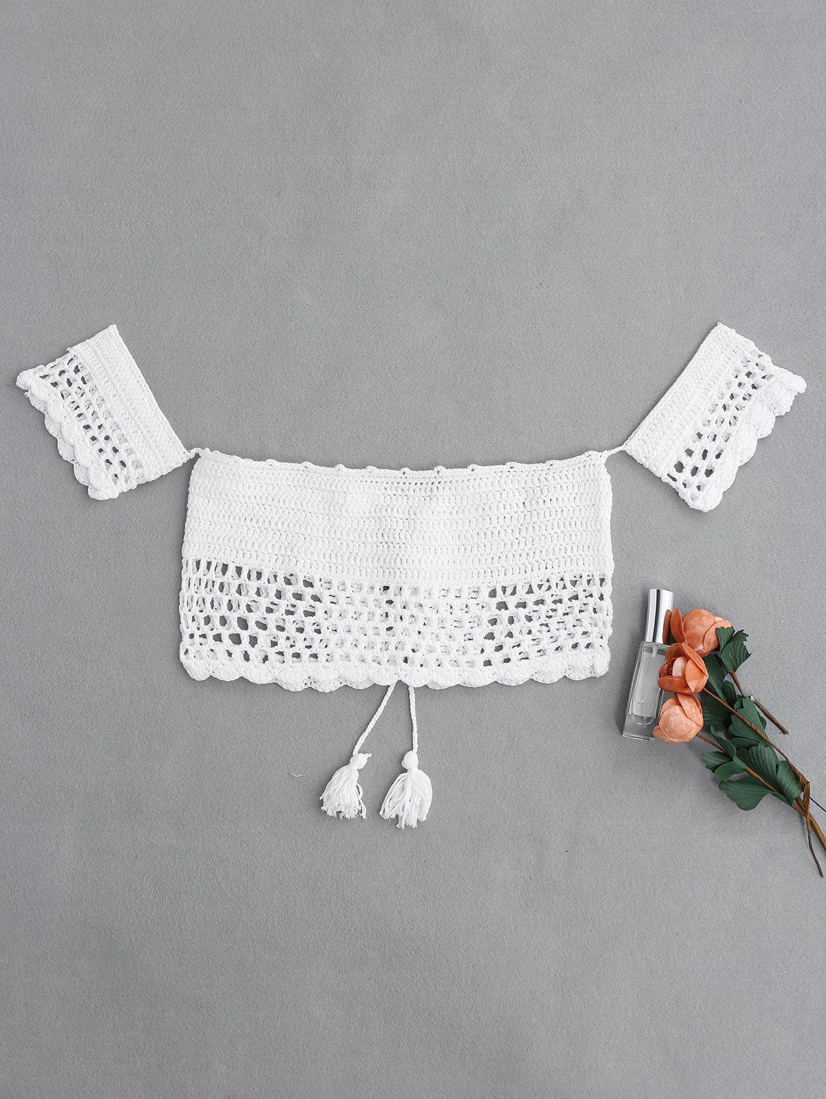 Off The Shoulder Crochet Swim Top - WHITE ONE SIZE