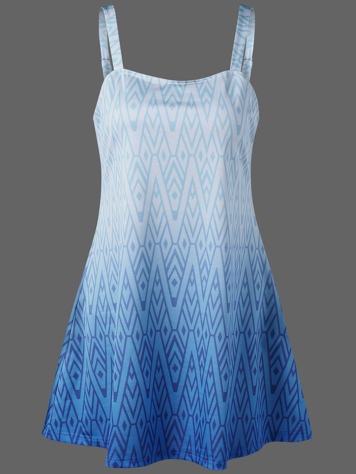 Zigzag sangle réglable Tankini Set - Bleu M
