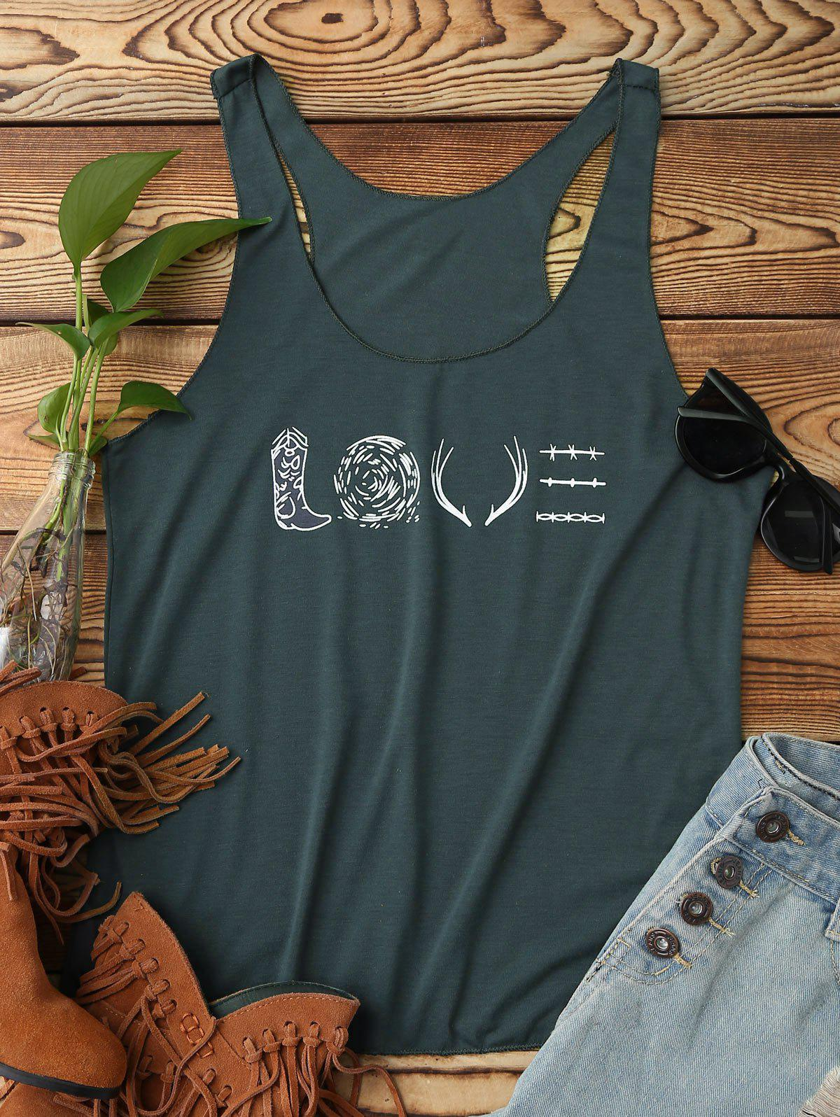 LOVE Graphic Tank Top scoop collar elephant print graphic tank top