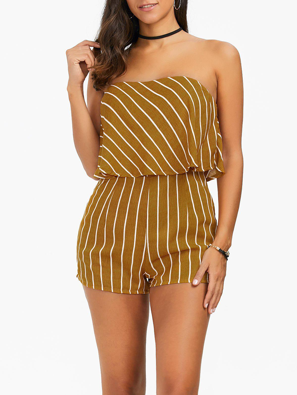 Strapless Overlay Striped Romper - YELLOW M