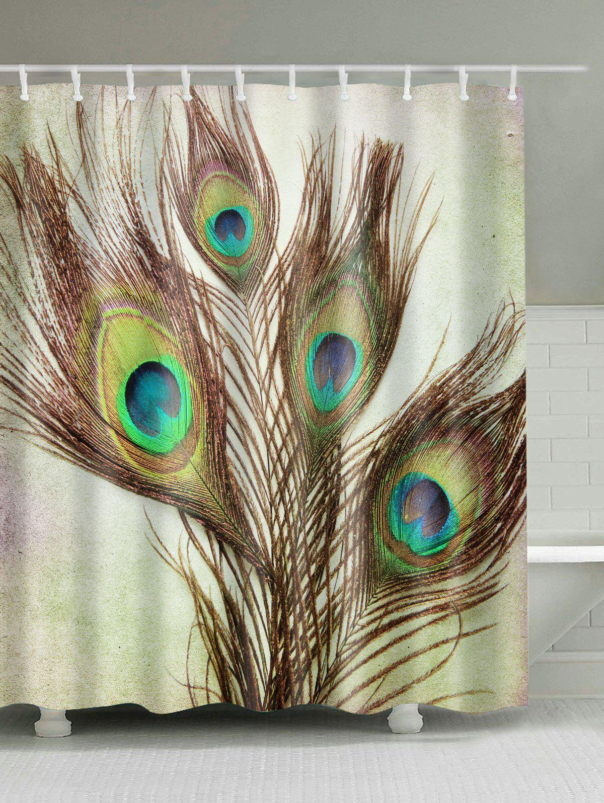 Peacock shower curtain hooks - Peacock Feather Fabric Shower Curtain With Hooks Light Brown W59inch L71inch
