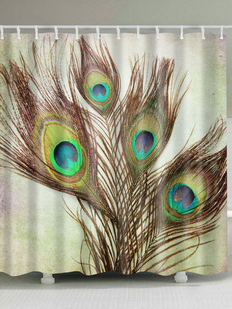 Peacock Feather Fabric Shower Curtain with Hooks retro style waterproof fabric shower curtain with hooks