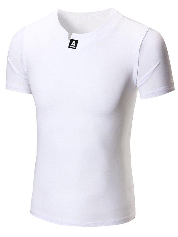 Patch Notch Neck Tee notch neck two tone patch tee